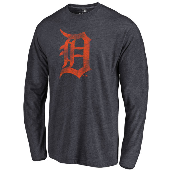 Detroit Tigers Distressed Team Long Sleeve Tri Blend T-Shirt Navy
