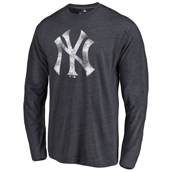 New York Yankees Distressed Team Long Sleeve Tri Blend T-Shirt Navy