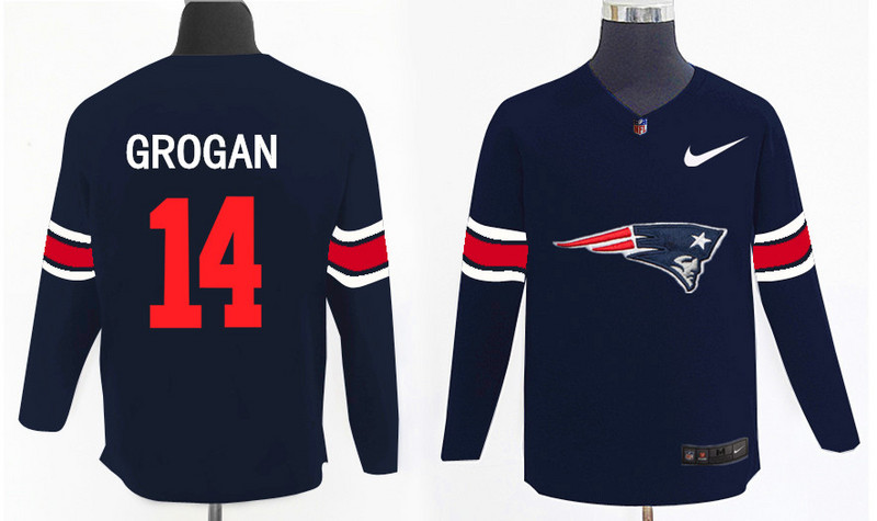 Nike Patriots 14 Steve Grogan Navy Knit Sweater