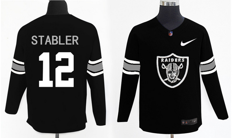 Nike Raiders 12 Ken Stabler Black Knit Sweater