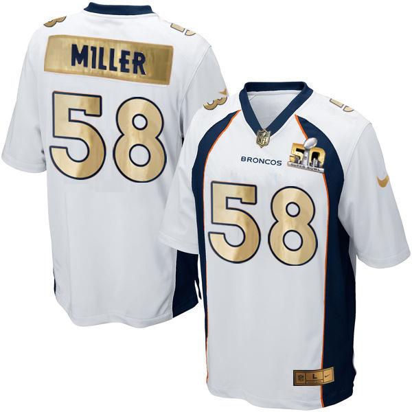 Nike Broncos 58 Von Miller White Super Bowl 50 Limited Jersey