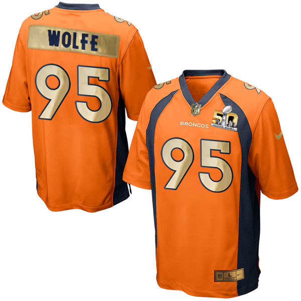 Nike Broncos 95 Derek Wolfe Orange Super Bowl 50 Limited Jersey