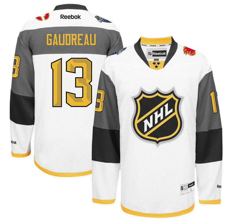 Flames 13 Johnny Gaudreau White 2016 All-Star Premier Jersey