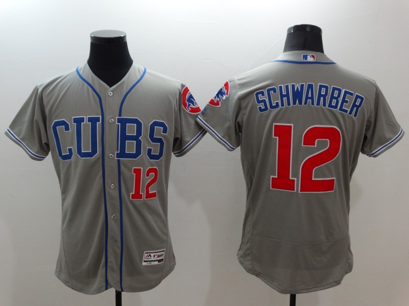 Cubs 12 Kyle Schwarber Grey Flexbase Jersey