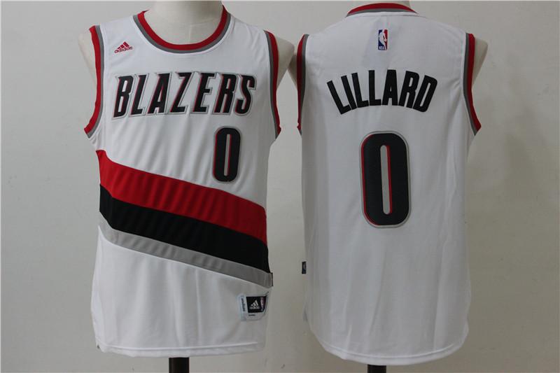 Blazers 0 Damian Lillard White Swingman Jersey