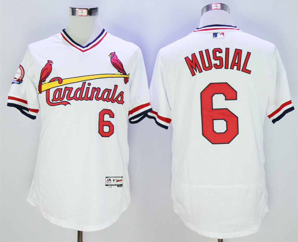 Cardinals 6 Stan Musial White 1985 Throwback Flexbase Jersey