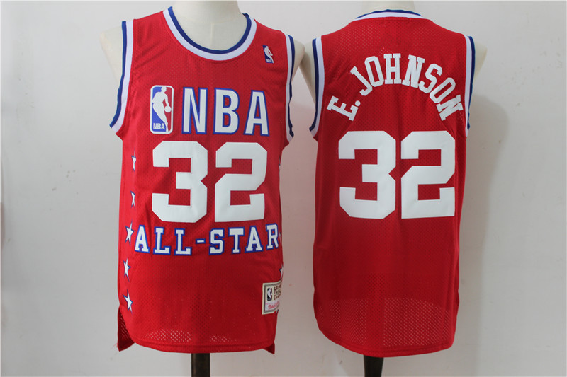 All Star Magic Johnson Red Hardwood Classics Jersey