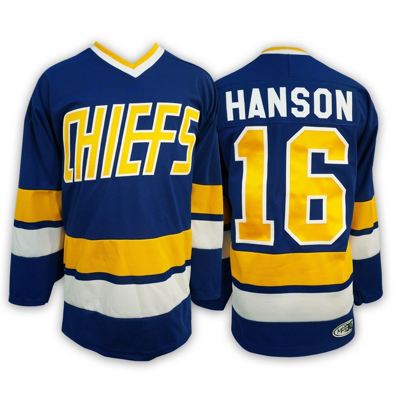 Hanson Brothers 16 Jack Hanson Blue Stitched Movie Jersey
