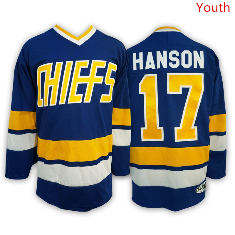 Hanson Brothers 17 Steve Hanson Blue Stitched Youth Movie Jersey