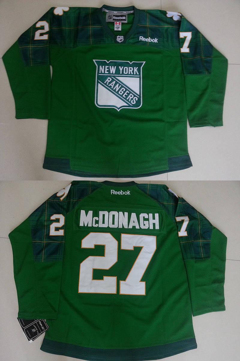 Rangers 27 Ryan McDonagh Green St. Patrick's Day Reebok Jersey