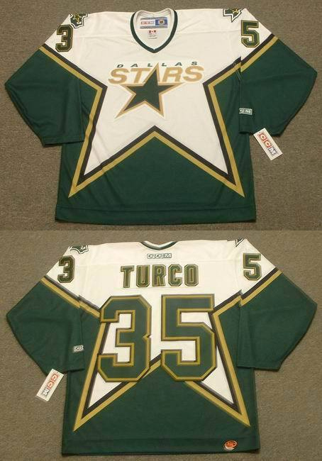 Stars 35 Marty Turco White CCM Jersey
