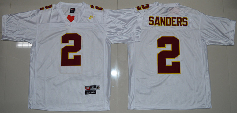 Florida State Seminoles (FSU) 2 Deion Sanders White College Throwback Jersey