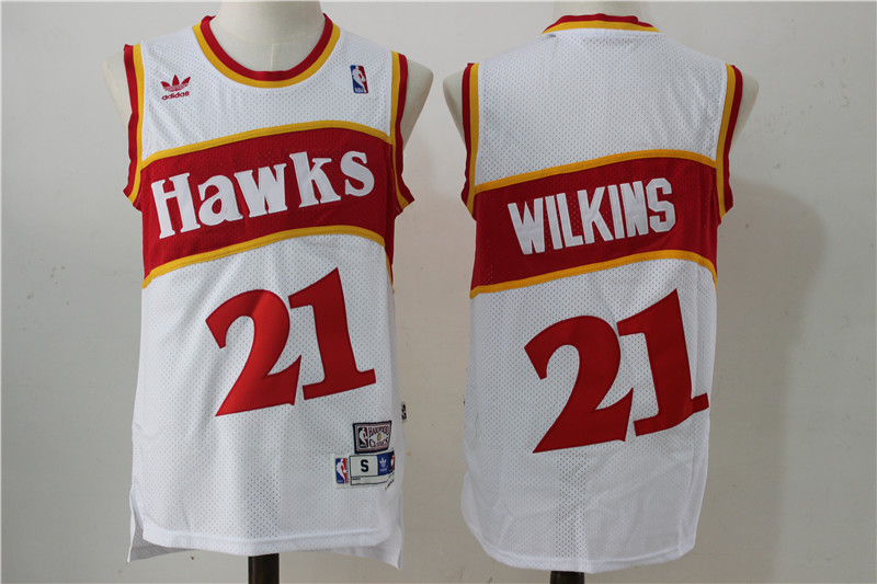 Hawks 21 Dominique Wilkins White Hardwood Classics Swingman Jersey