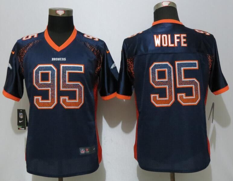 Nike Broncos 95 Derek Wolfe Blue Women Drift Fashion Jersey