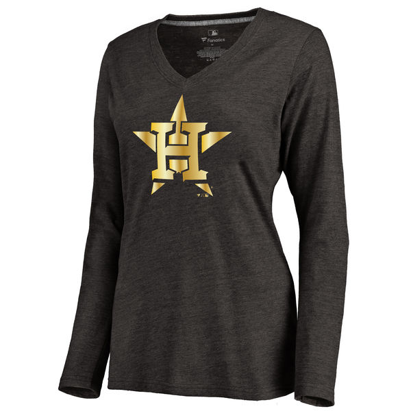 Houston Astros Women's Gold Collection Long Sleeve V Neck Tri Blend T-Shirt Black