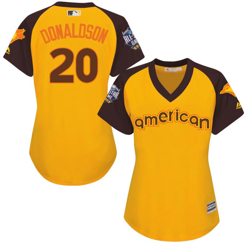 Blue Jays 20 Josh Donaldson Yellow Women 2016 All-Star Game Cool Base Batting Practice Player Jersey