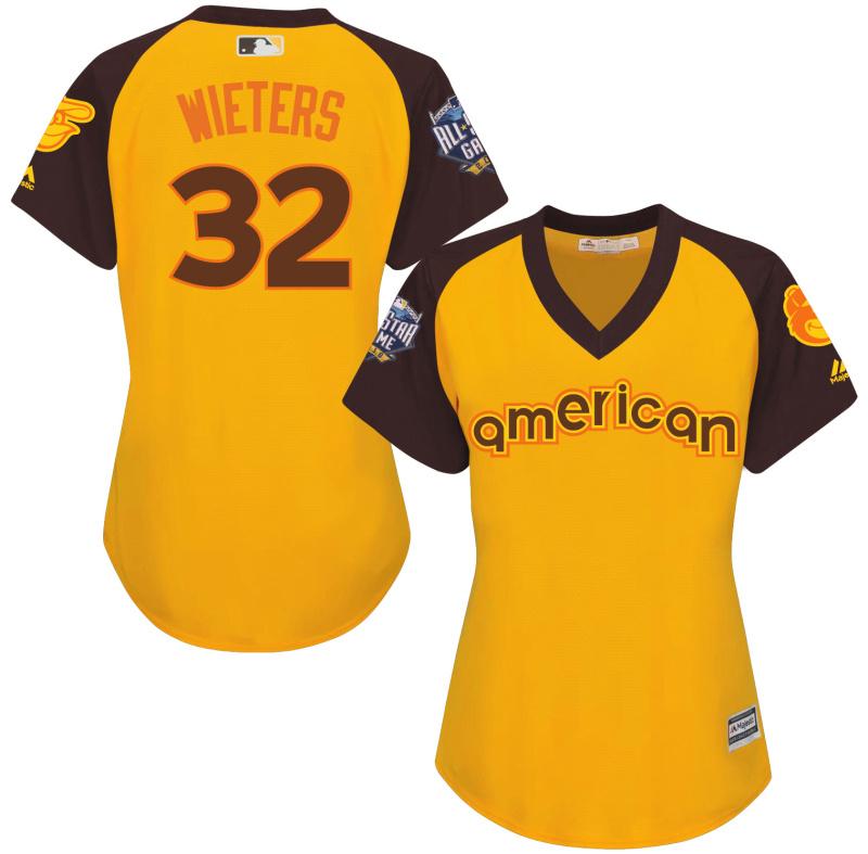 Orioles 32 Matt Wieters Yellow Women 2016 All-Star Game Cool Base Batting Practice Player Jersey
