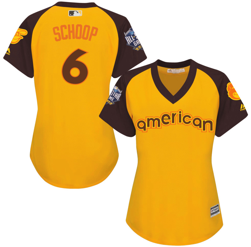 Orioles 6 Jonathan Schoop Yellow Women 2016 All-Star Game Cool Base Batting Practice Player Jersey