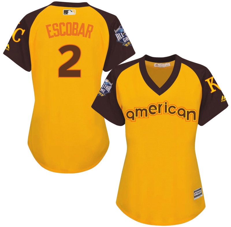 Royals 2 Alcides Escobar Yellow Women 2016 All-Star Game Cool Base Batting Practice Player Jersey