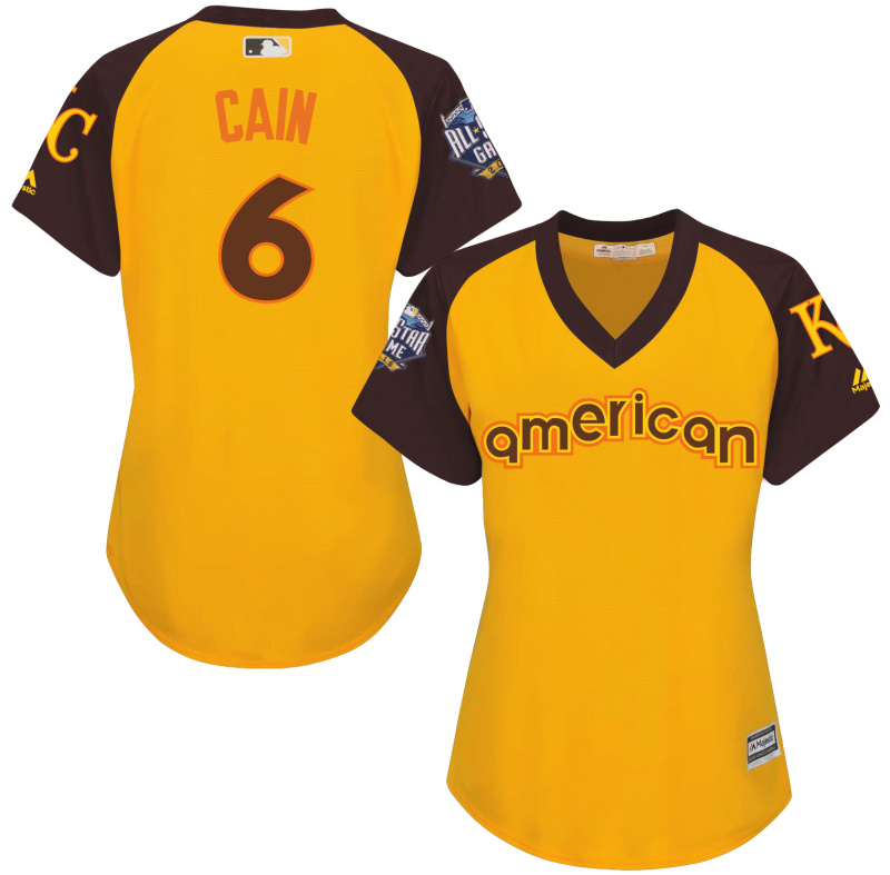 Royals 6 Lorenzo Cain Yellow Women 2016 All-Star Game Cool Base Batting Practice Player Jersey