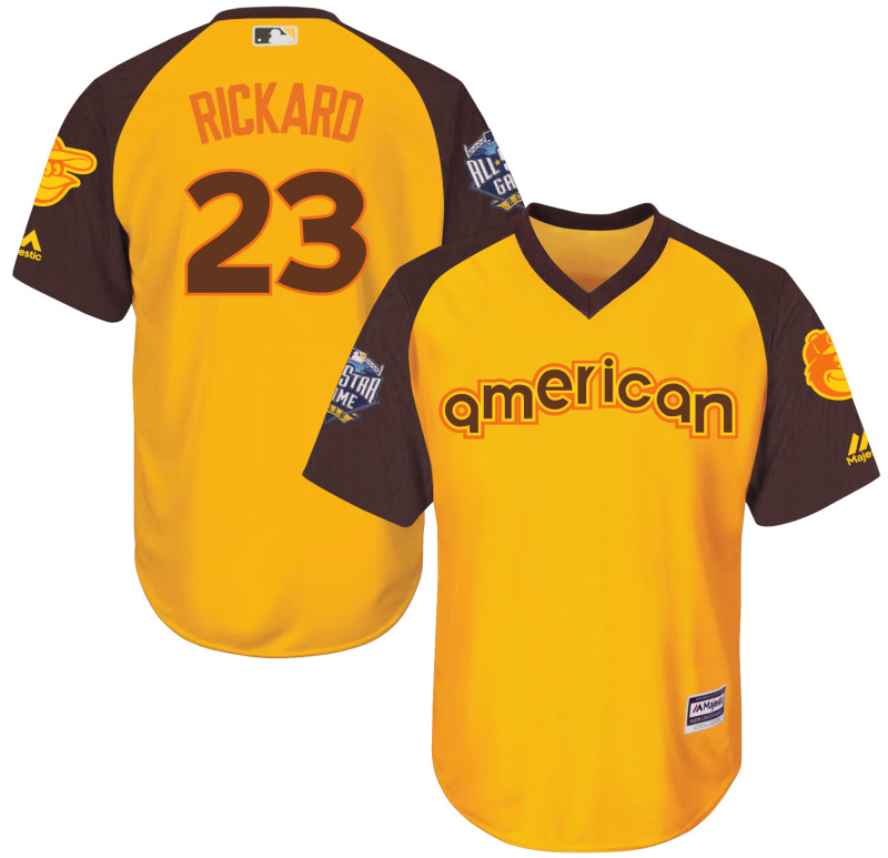Orioles 23 Joey Rickard Yellow Youth 2016 All-Star Game Cool Base Batting Practice Player Jersey