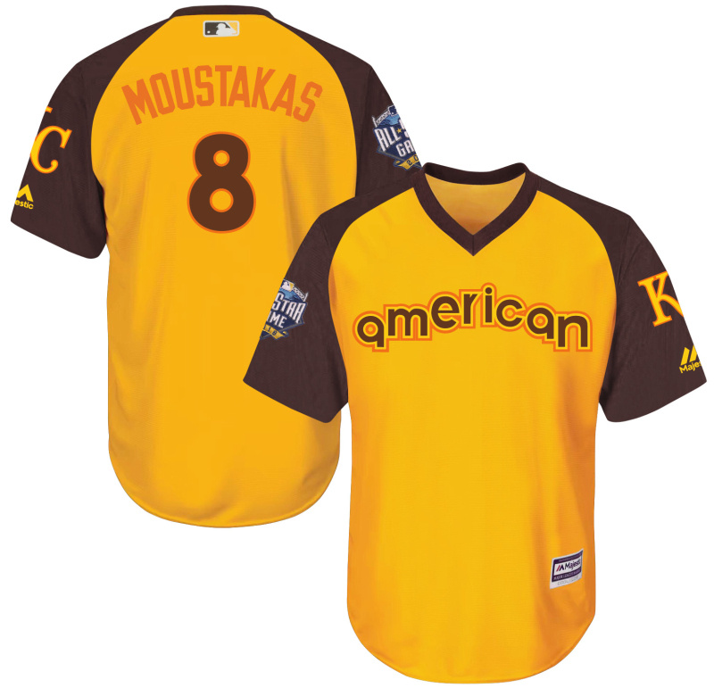 Royals 8 Mike Moustakas Yellow Youth 2016 All-Star Game Cool Base Batting Practice Player Jersey
