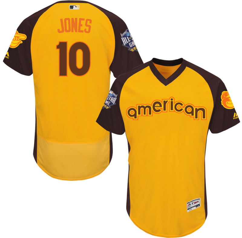 Orioles 10 Adam Jones Yellow 2016 All-Star Game Cool Base Batting Practice Player Jersey