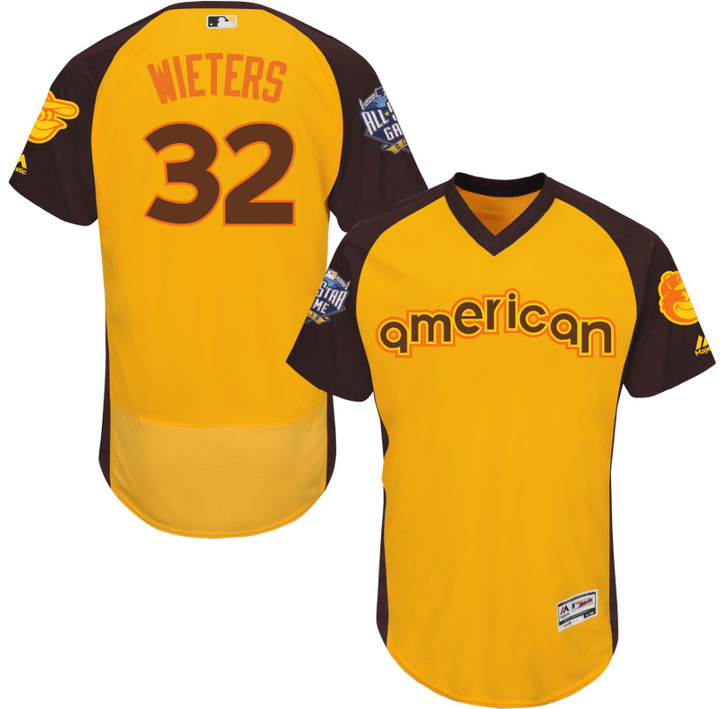 Orioles 32 Matt Wieters Yellow 2016 All-Star Game Cool Base Batting Practice Player Jersey