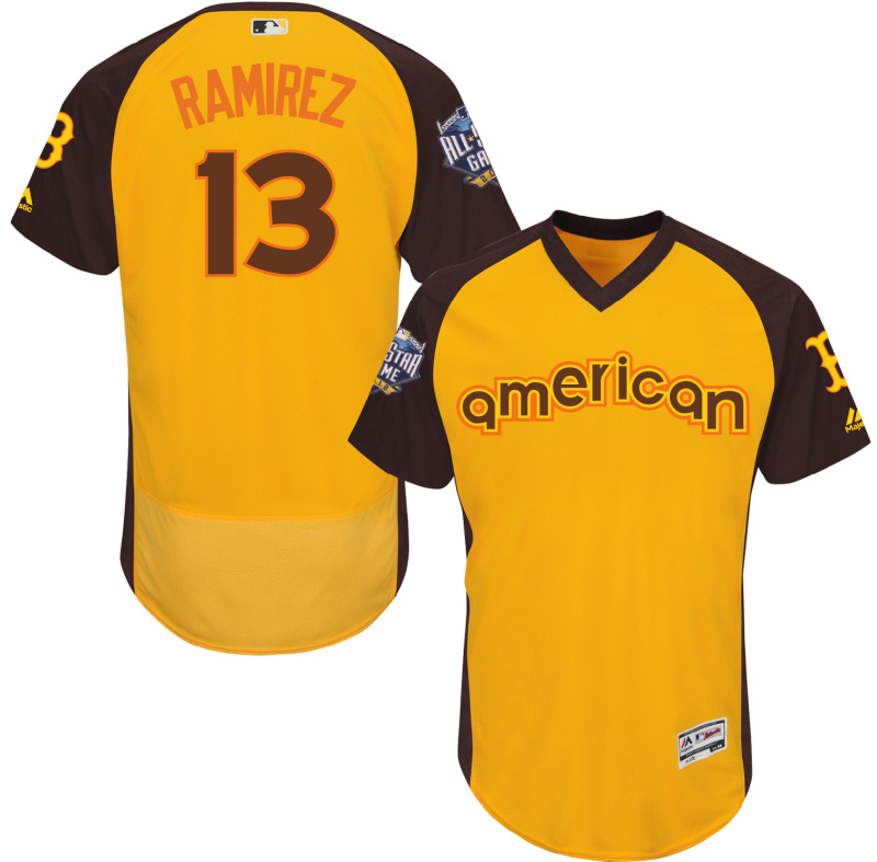Red Sox 13 Hanley Ramirez Yellow 2016 All-Star Game Cool Base Batting Practice Player Jersey