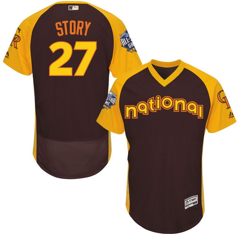 Rockies 27 Trevor Story Brown 2016 All-Star Game Cool Base Batting Practice Player Jersey