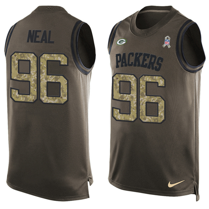 Nike Packers 96 Mike Neal Olive Green Salute To Service Player Name & Number Tank Top