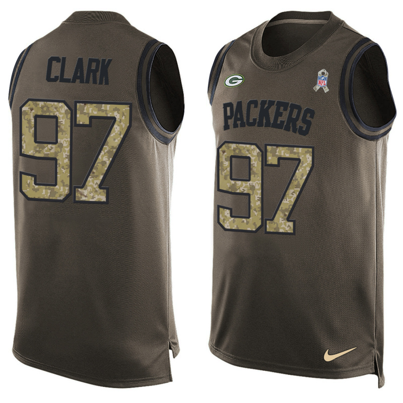 Nike Packers 97 Kenny Clark Olive Green Salute To Service Player Name & Number Tank Top
