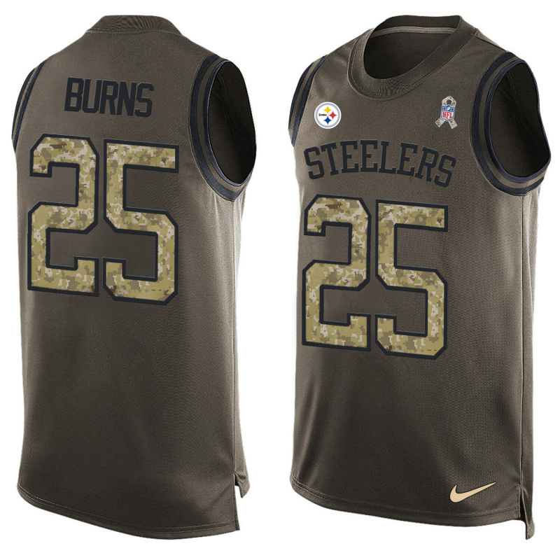 Nike Steelers 25 Artie Burns Olive Green Salute To Service Player Name & Number Tank Top