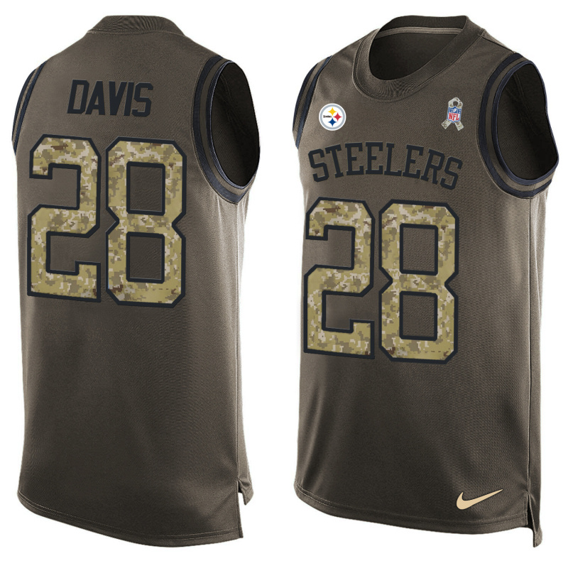 Nike Steelers 28 Sean Davis Olive Green Salute To Service Player Name & Number Tank Top