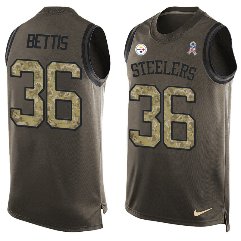 Nike Steelers 36 Jerome Bettis Olive Green Salute To Service Player Name & Number Tank Top