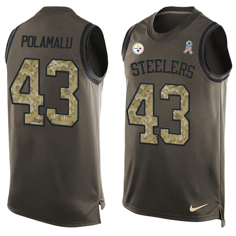 Nike Steelers 43 Troy Polamalu Olive Green Salute To Service Player Name & Number Tank Top