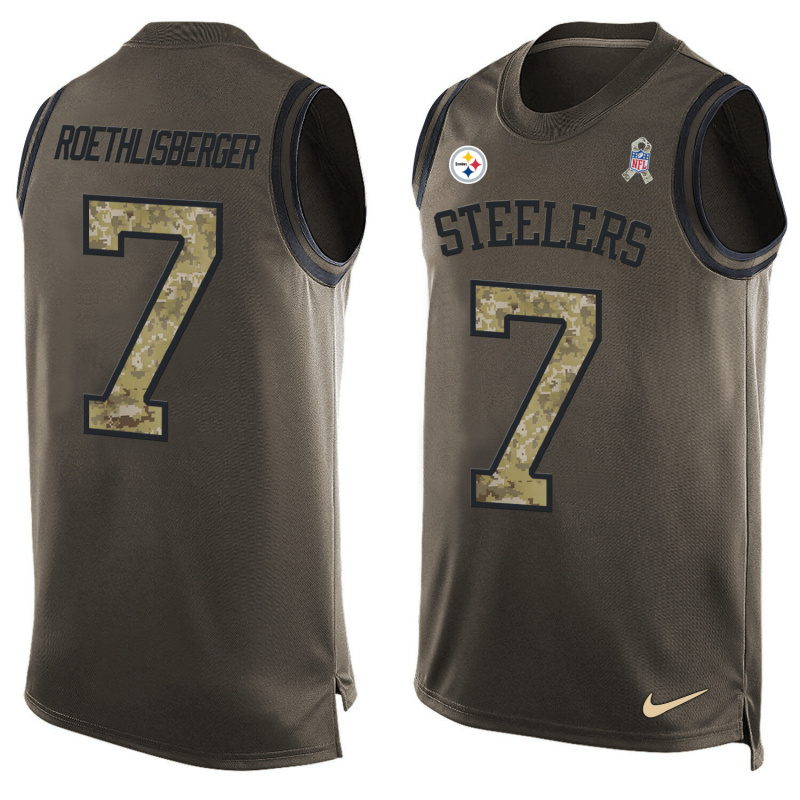 Nike Steelers 7 Ben Roethlisberger Olive Green Salute To Service Player Name & Number Tank Top
