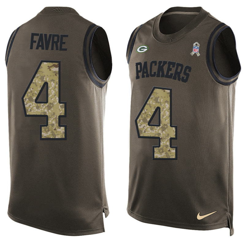 Nike Packers 4 Brett Favre Olive Green Salute To Service Player Name & Number Tank Top