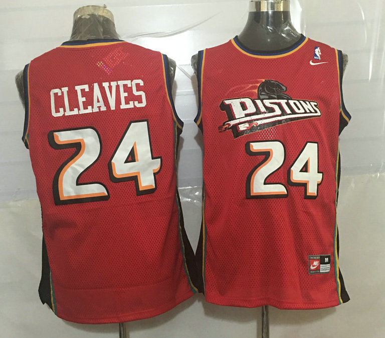 Pistons 24 Mateen Cleaves Red Nike Stitched Jersey