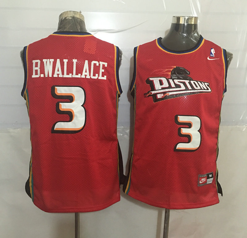 Pistons 3 Ben Wallace Red Nike Stitched Jersey