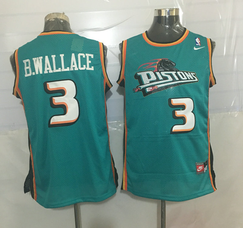 Pistons 3 Ben Wallace Teal Nike Stitched Jersey