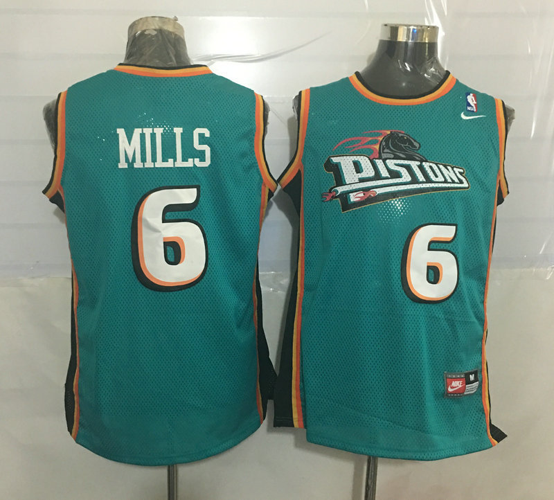 Pistons 6 Terry Mills Teal Nike Stitched Jersey