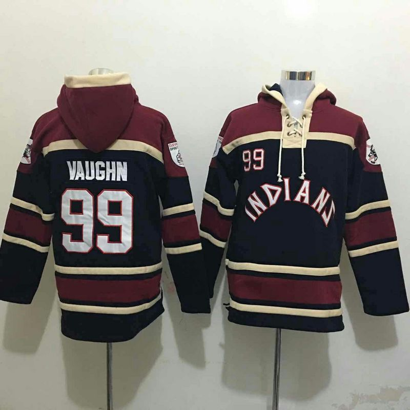 Indians 99 Ricky Vaughn Navy All Stitched Hooded Sweatshirt