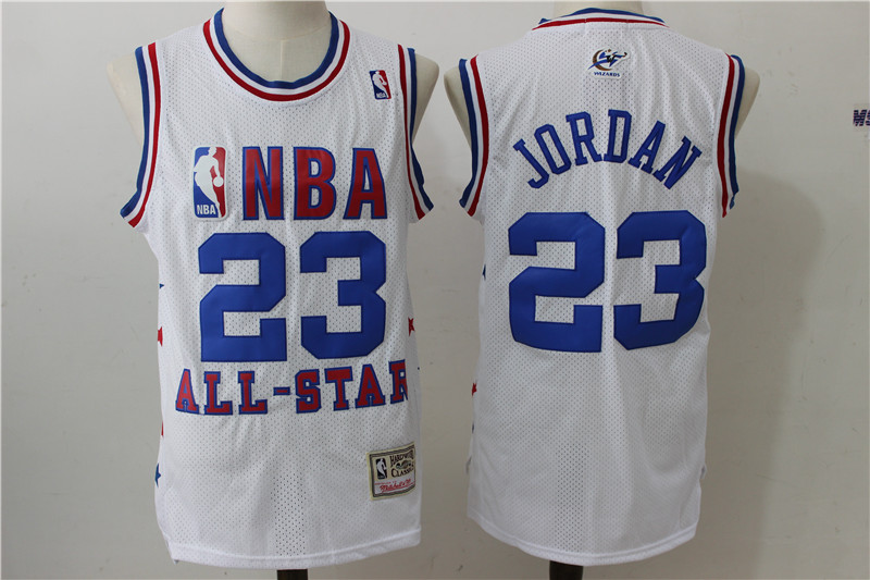 1991 All Star Wizards 23 Michael Jordan White Hardwood Classics Jersey