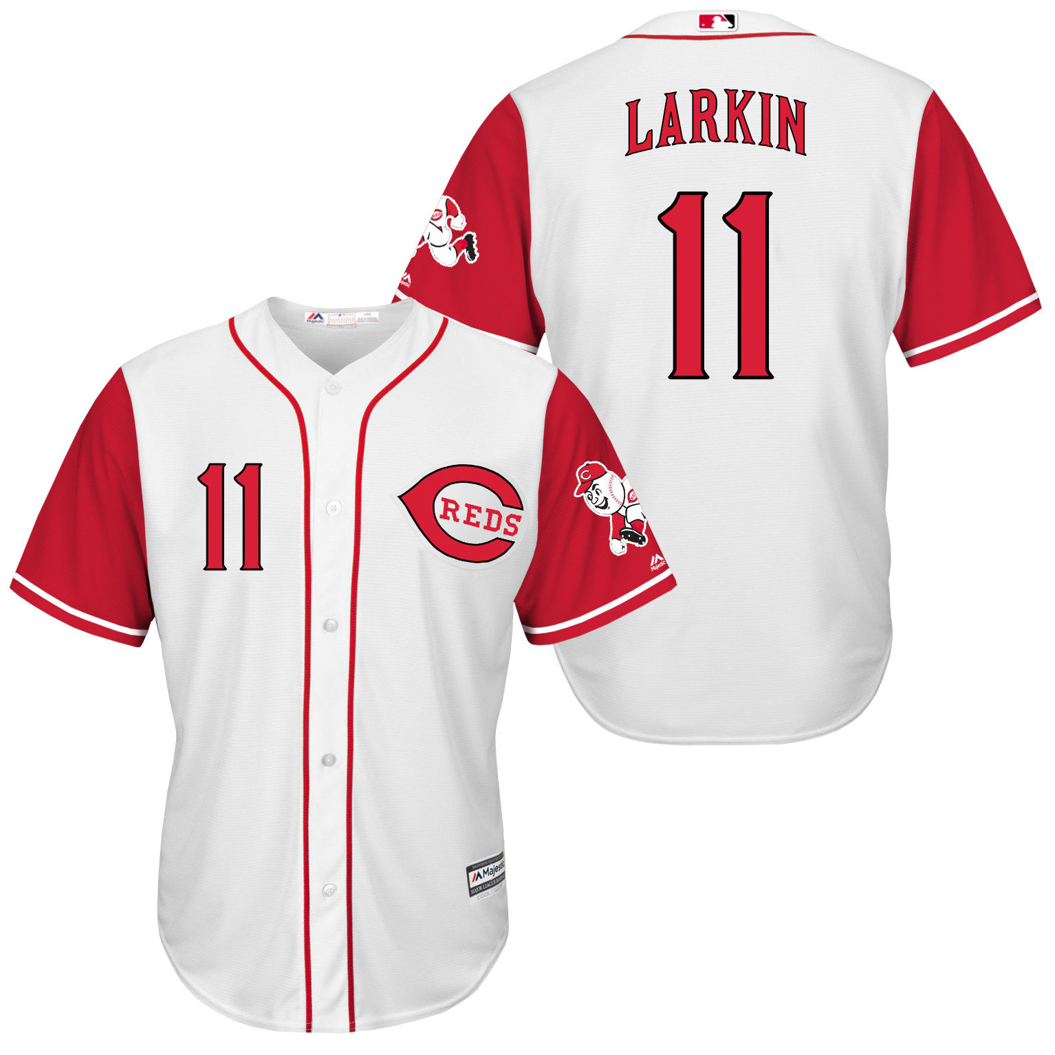 Reds 11 Barry Larkin White New Cool Base Jersey