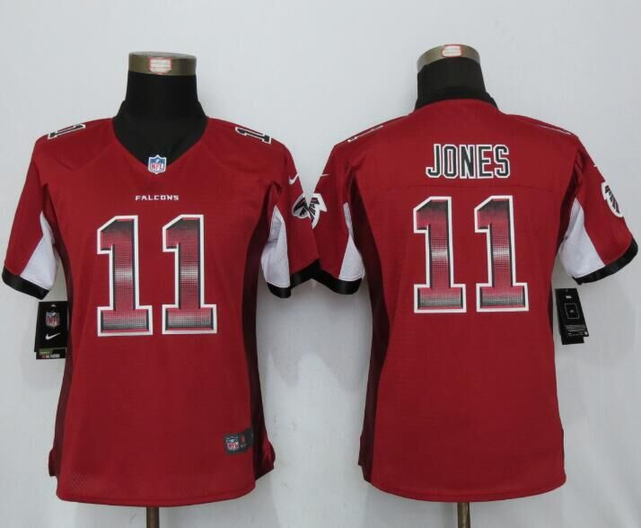 Nike Falcons 11 Julio Jones Red Pro Line Fashion Strobe Women Limited Jersey