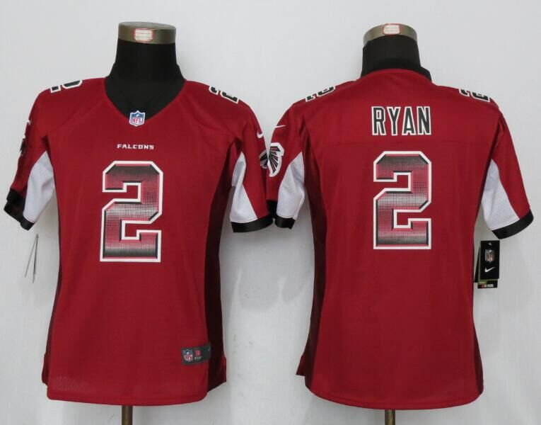 Nike Falcons 2 Matt Ryan Red Pro Line Fashion Strobe Women Limited Jersey