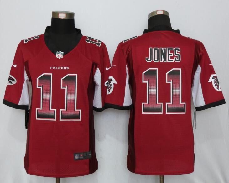 Nike Falcons 11 Julio Jones Red Pro Line Fashion Strobe Limited Jersey