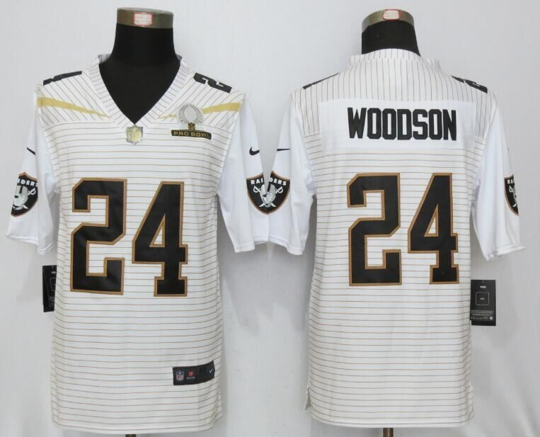Nike Raiders 24 Charles Woodson White 2016 Pro Bowl Elite Jersey