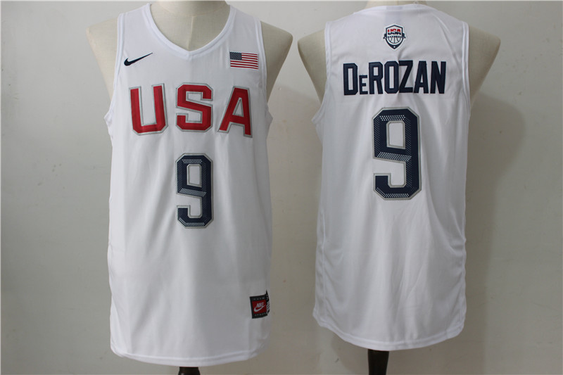 USA Basketball 9 DeMar DeRozan White Nike Rio Elite Stitched Jersey